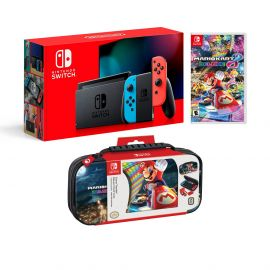 Nintendo Switch Super Mario Kart 8 Deluxe Bundle: Red and Blue Joy-Con Improved Battery Life 32GB Console,Super Mario Kart 8 Deluxe Game Disc and Travel Case