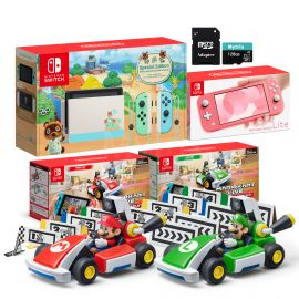 Nintendo Switch Two Sets of Consoles and Karts Holiday Combo: Nintendo Switch Animal Crossing Console, Switch Lite Coral Console, Mario Kart Live: Home Circuit - Mario Set and Luigi Set, 128GB SD