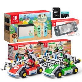 Nintendo Switch Two Sets of Consoles and Karts Holiday Combo: Nintendo Switch Animal Crossing Console, Switch Lite Gray Console, Mario Kart Live: Home Circuit - Mario Set and Luigi Set, 128GB SD
