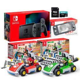 Nintendo Switch Two Sets of Consoles and Karts Holiday Combo: Nintendo Switch Gray Joy-Con Console, Switch Lite Gray Console, Mario Kart Live: Home Circuit - Mario Set and Luigi Set, 128GB MicroSD