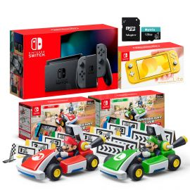 Nintendo Switch Two Sets of Consoles and Karts Holiday Combo: Nintendo Switch Gray Joy-Con Console, Switch Lite Yellow Console, Mario Kart Live: Home Circuit - Mario Set and Luigi Set, 128GB MicroSD