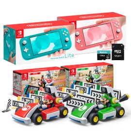 Nintendo Switch Two Sets of Consoles and Karts Holiday Combo: Nintendo Switch Lite Turquoise Console, Switch Lite Coral Console, Mario Kart Live: Home Circuit - Mario Set and Luigi Set, 128GB MicroSD