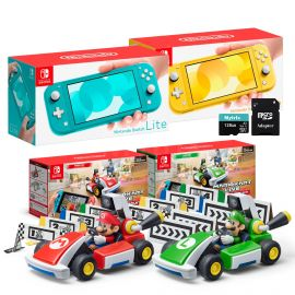 Nintendo Switch Two Sets of Consoles and Karts Holiday Combo: Nintendo Switch Lite Turquoise Console, Switch Lite Yellow Console, Mario Kart Live: Home Circuit - Mario Set and Luigi Set, 128GB MicroSD