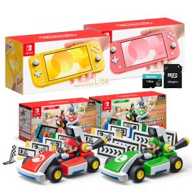 Nintendo Switch Two Sets of Consoles and Karts Holiday Combo: Nintendo Switch Lite Yellow Console, Switch Lite Coral Console, Mario Kart Live: Home Circuit - Mario Set and Luigi Set, 128GB MicroSD
