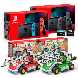 Nintendo Switch Two Sets of Consoles and Karts Holiday Combo: Nintendo Switch Neon Red Blue Joy-Con Console, Gray Joy-Con Console, Mario Kart Live: Home Circuit - Mario Set and Luigi Set, 128GB SD
