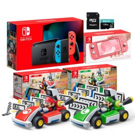 Nintendo Switch Two Sets of Consoles and Karts Holiday Combo: Nintendo Switch Neon Red Blue Joy-Con Console, Switch Lite Coral, Mario Kart Live: Home Circuit - Mario Set and Luigi Set, 128GB SD