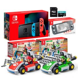 Nintendo Switch Two Sets of Consoles and Karts Holiday Combo: Nintendo Switch Neon Red Blue Joy-Con Console, Switch Lite Gray Console, Mario Kart Live: Home Circuit - Mario Set and Luigi Set, 128GB SD