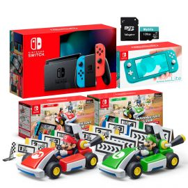 Nintendo Switch Two Sets of Consoles and Karts Holiday Combo: Nintendo Switch Neon Red Blue Joy-Con Console, Switch Lite Turquoise, Mario Kart Live: Home Circuit - Mario Set and Luigi Set, 128GB SD