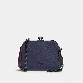 NWT Coach F80194 Leather Kisslock Crossbody Colorblock Bag Metallic Blue Multi