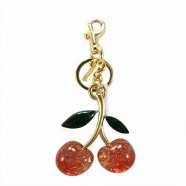 NWT COACH Signature Cherry Bag Charm Key Chain Dogleash Bling Gold Red 88547