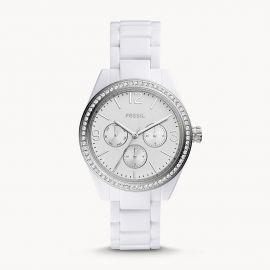 NWT Fossil BQ3343 Chronograph Glitz White Acetate Bracelet Watch