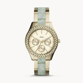 NWT Fossil ES4757 Women's Stella Gold-Tone Stainless Steel & Acetate Bracelet Watch 38mm