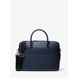 NWT Michael Kors Harrison 37U9LHRA2L Saffiano Leather Front-Zip Briefcase Navy