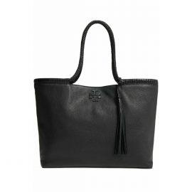 NWT Tory Burch 52699 Taylor Braided-Handle Tote Shoulder Bag Black
