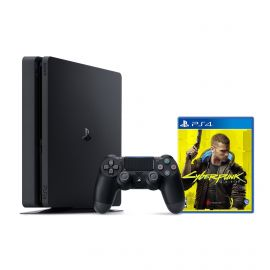 PlayStation 4 1TB Console with Cyberpunk 2077 - PS4 Slim 1TB Jet Black HDR Gaming Console, Wireless Controller and Game