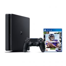PlayStation 4 1TB Console with Madden NFL 21 - PS4 Slim 1TB Jet Black HDR Gaming Console, Wireless Controller and Game