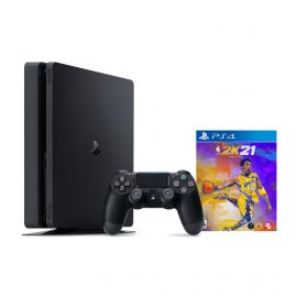 PlayStation 4 1TB Console with NBA 2K21 Mamba Forever Edition - PS4 Slim 1TB Jet Black HDR Gaming Console, Wireless Controller and Game