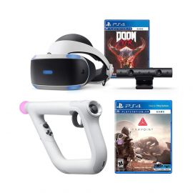 PlayStation 4 DOOM VFR and Farpoint PSVR Aim Controller Enhanced Bundle: PlayStation 4 VR Headset, PSVR Camera, Wireless Aim Controller, DOOM VFR and Farpoint