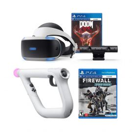 PlayStation 4 Firewall Zero Hour and DOOM VFR PSVR Aim Controller Enhanced Bundle: PlayStation 4 VR Headset, PSVR Camera, Wireless Aim Controller, DOOM VFR and Firewall Zero Hour
