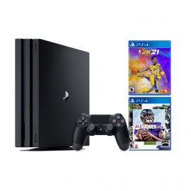 PlayStation 4 Pro 1TB Console with 2020 Sports Bundle - PS4 Pro 1TB Jet Black 4K HDR Gaming Console, Wireless Controller and Games