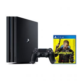 PlayStation 4 Pro 1TB Console with Cyberpunk 2077 - PS4 Pro 1TB Jet Black 4K HDR Gaming Console, Wireless Controller and Game