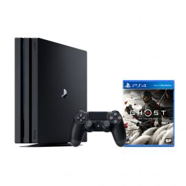 PlayStation 4 Pro 1TB Console with Ghost of Tsushima - PS4 Pro 1TB Jet Black 4K HDR Gaming Console, Wireless Controller and Game