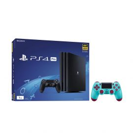 PlayStation 4 Pro 1TB Jet Black 4K HDR Gaming Console Bundle With an Extra Berry Blue DualShock 4 Wireless Controller