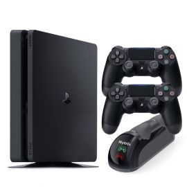 PlayStation 4 Slim 1TB Console with Two DualShock 4 Wireless Controllers and Mytrix DS4 Fast Charging Dock