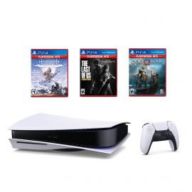 PlayStation 5 Only on PlayStation Bundle: Disk Version Console with Wireless Controller with The Last of Us Remastered, God of War & Horizon Zero Dawn Complete Edition