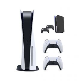 PlayStation New 825GB SSD Console Disc Drive Version with Wireless Controller and Mytrix Black Full Body Skins for PS-5 Disc Version Console and Two Controllers