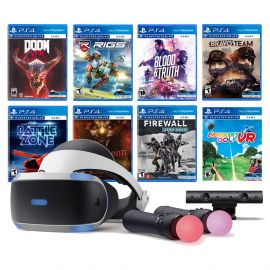 PlayStation VR 11-In-1 Deluxe 8 Games Bundle: VR Headset, Camera, Move Motion Controllers, DOOM VFR, Bravo Team, Firewall Zero Hour, Battlezone, RIGS, Until Dawn, Blood & Truth, Everybody's Golf
