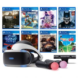 PlayStation VR 11-In-1 Deluxe 8 Games Bundle: VR Headset, Camera, Move Motion Controllers, Resident Evil 7, Batman, Bravo Team, Battlezone, RIGS, Until Dawn, Blood & Truth, Everybody's Golf