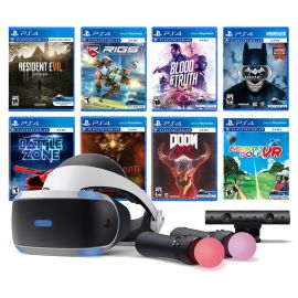 PlayStation VR 11-In-1 Deluxe 8 Games Bundle: VR Headset, Camera, Move Motion Controllers, Resident Evil 7, Batman, DOOM VFR, Battlezone, RIGS, Until Dawn, Blood & Truth, Everybody's Golf