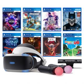 PlayStation VR 11-In-1 Deluxe 8 Games Bundle: VR Headset, Camera, Move Motion Controllers, VR Worlds, Batman, DOOM VFR, Battlezone, RIGS, Until Dawn, Blood & Truth, Everybody's Golf