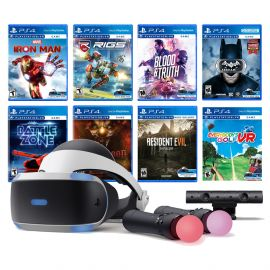 PlayStation VR 11-In-1 Deluxe Bundle PS4 & PS5 Compatible: VR Headset, Camera, Move Motion Controllers, Iron Man, Resident Evil 7, Batman, Battlezone, RIGS, Until Dawn, Blood & Truth, Everybody's Golf