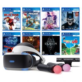 PlayStation VR 11-In-1 Deluxe Bundle PS4 & PS5 Compatible: VR Headset, Camera, Move Motion Controllers, Iron Man, Skyrim, Batman, Battlezone, RIGS, Until Dawn, Blood & Truth, Everybody's Golf