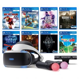 PlayStation VR 11-In-1 Deluxe Bundle PS4 & PS5 Compatible: VR Headset, Camera, Move Motion Controllers, Iron Man, Skyrim, Resident Evil 7, Battlezone, RIGS, Until Dawn, Blood & Truth, Everybody's Golf