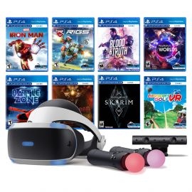 PlayStation VR 11-In-1 Deluxe Bundle PS4 & PS5 Compatible: VR Headset, Camera, Move Motion Controllers, Iron Man, Skyrim, VR Worlds, Battlezone, RIGS, Until Dawn, Blood & Truth, Everybody's Golf