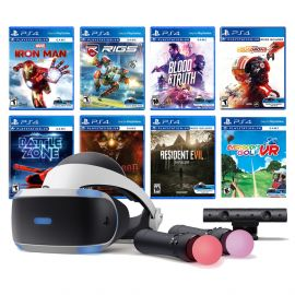 PlayStation VR 11-In-1 Deluxe Bundle PS4 & PS5 Compatible: VR Headset, Camera, Move Motion Controllers, Iron Man, Star Wars Squadrons, Resident Evil 7, Battlezone, RIGS, Until Dawn, Blood&Truth, Golf