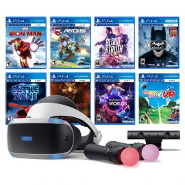PlayStation VR 11-In-1 Deluxe Bundle PS4 & PS5 Compatible: VR Headset, Camera, Move Motion Controllers, Iron Man, VR Worlds, Batman, Battlezone, RIGS, Until Dawn, Blood & Truth, Everybody's Golf