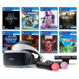 PlayStation VR 11-In-1 Deluxe Bundle PS4 & PS5 Compatible: VR Headset, Camera, Move Motion Controllers, Skyrim, Resident Evil 7, DOOM VFR, Battlezone, RIGS, Until Dawn, Blood & Truth, Everybody's Golf