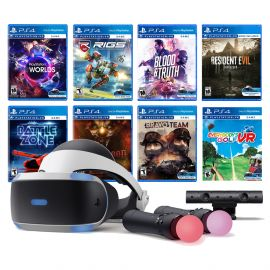 PlayStation VR 11-In-1 Deluxe Bundle PS4 & PS5 Compatible: VR Headset, Camera, Move Motion Controllers, VR Worlds, Resident Evil 7, Bravo Team, Battlezone, RIGS, Until Dawn, Blood & Truth, Golf
