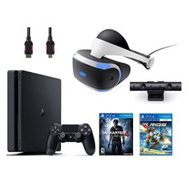 PlayStation VR Bundle 4 Items:VR Headset,Playstation Camera,PlayStation 4 Slim 500GB Console - Uncharted 4,VR Game Disc RIGS Mechanized Combat League