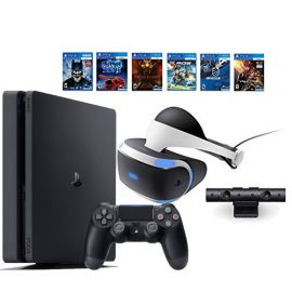 PlayStation VR Bundle 9 Items:VR Headset w/ Camera, PlayStation 4 Slim 1TB, 6 Must-Play PSVR Games Include EVE, Battlezone and More
