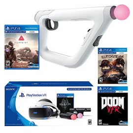 PlayStation VR FPS Deluxe Bundle (5 Items): PlayStation VR – Skyrim Bundle, PSVR Doom VFR Game, PSVR Bravo Team Game, PSVR Farpoint Game and PSVR Aim Controller
