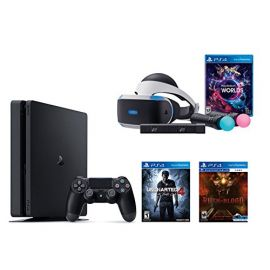PlayStation VR Launch Bundle 3 Items: VR Launch Bundle,PlayStation 4 Slim 500GB Console - Uncharted 4,VR game disc PSVR Until Dawn: Rush of Blood