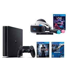 PlayStation VR Launch Bundle 3 Items:VR Launch Bundle,PlayStation 4 Slim 500GB Console - U,VR Game Disc PSVR DriveClub ncharted 4