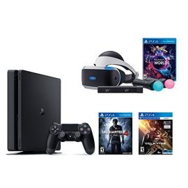 PlayStation VR Launch Bundle 3 Items:VR Launch Bundle,PlayStation 4 Slim 500GB Console - Uncharted 4,VR Game Disc PSVR EV-Valkyrie