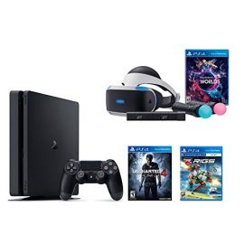 PlayStation VR Launch Bundle 3 Items:VR Launch Bundle,PlayStation 4 Slim 500GB Console - Uncharted 4,VR Game Disc RIGS Mechanized Combat League