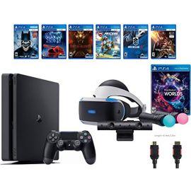 PlayStation VR Launch Bundle 8 Items:VR Launch Bundle,PlayStation 4 Slim 1TB ,6 VR Game Disc Until Dawn: Rush of Blood,EVE: Valkyrie, Battlezone, Batman: Arkham VR, DriveClub, Battlezone